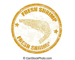 Grunge rubber stamp with shrimp shape and the text fresh shrimp written inside, vector illustration