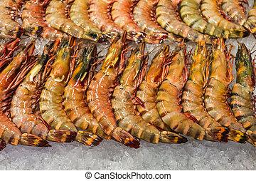 Fresh shrimps at seafood market, Thailand