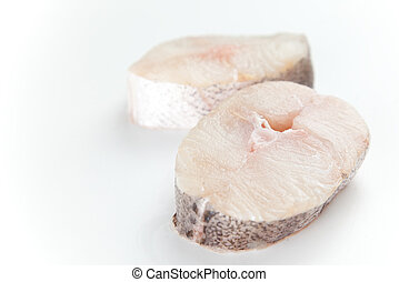 Fresh slice of hake - Fresh hake slice isolated over white...