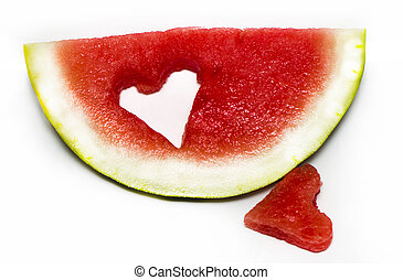 Fresh slice of watermelon with heart isolated on white background
