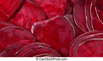 Fresh sliced beets - Overhead slider shot of fresh sliced...
