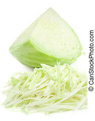 Fresh sliced green cabbage, isolated on a white background.