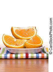 Fresh sliced oranges - A plate of fresh, ripe, sweet oranges...