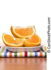Fresh sliced oranges - A plate of fresh, ripe, sweet oranges...