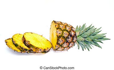 Fresh Sliced Pineapple Isolated on White Background