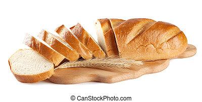 Fresh sliced white loaf isolated on white background