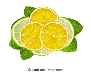 fresh slices lime and lemon with leaf mint isolated on white