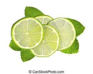 fresh slices lime with leaf mint isolated on white