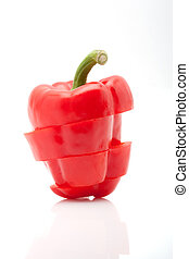 slices of red pepper isolated on white background