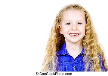 fresh smile - Portrait of a pretty joyful girl with a...