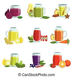 Fresh Smoothie Icon Set Of Bright Color Isolated Vector ...