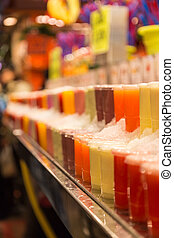 Fresh smoothies at a market stall