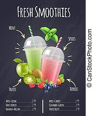 Fresh Smoothies Realistic Composition