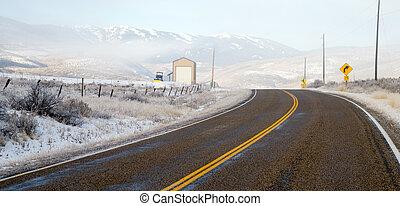 Fresh Snow Blankets Hillside Rural Country Scene Two Lane Road