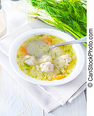 fresh soup with meat balls