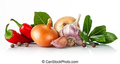 Fresh spice with garlic bay leaf