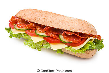 Hot salami sandwich with lettuce, tomatoes and cucumbers on white, clipping path