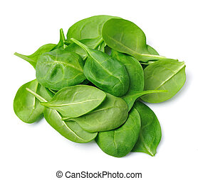 Fresh spinach on a white background.