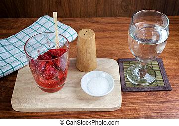 fresh split strawberries mixed
