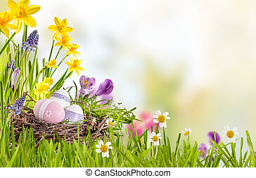 Fresh spring background with Easter Eggs