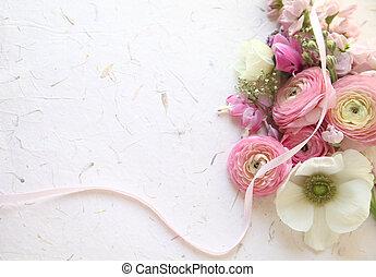 fresh spring flowers in pink - ranunculus, anemones, stock...
