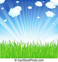 Spring Grass - Fresh Spring Grass, Vector Illustration