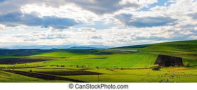 Fresh spring land - Green farm land view on hills with...