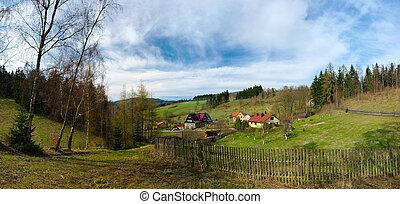 Fresh spring landscape in hills