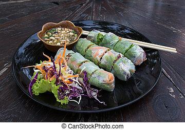 Fresh Spring Roll, Vietnamese Food. - Fresh vietnamese...