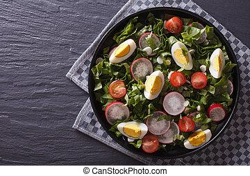 Fresh spring salad horizontal top view
