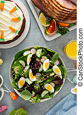 Fresh spring salad with boiled eggs