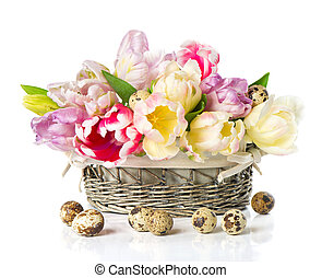 fresh spring tulips with easter eggs decoration