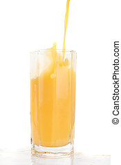Fresh squeezed pouring orange juice isolated on a white background