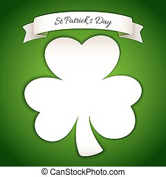 Fresh St Patricks Day Poster with Paper Clover. In the EPS...