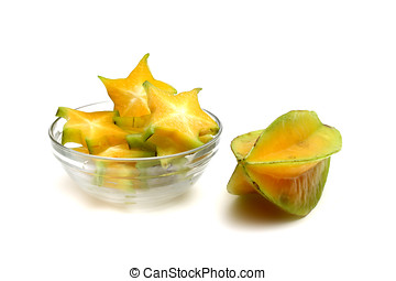 Fresh star fruit,Isolated on white background,Star fruit is...