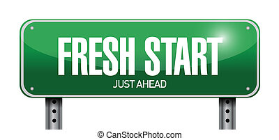 fresh start road sign illustration design over a white...