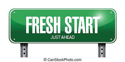 fresh start road sign illustration design over a white...
