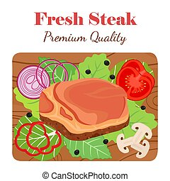 Fresh steak on cutting board with vegetables. Cartoon flat style