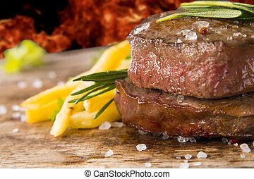 steak on wood - Fresh steak on wooden