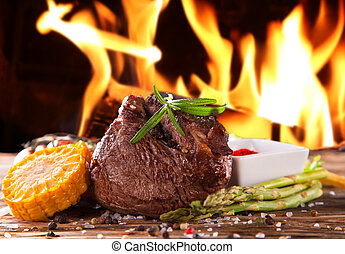 Fresh steak - Delicious beef steaks with fresh vegetable and...