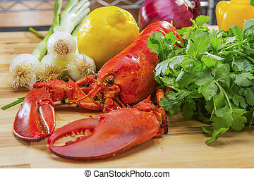 Fresh Steamed Lobster with Lemon an