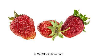 fresh strawberry isolated on white background closeup