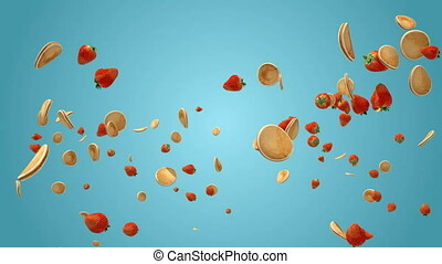 Fresh strawberries and pancakes flying in slow motion...