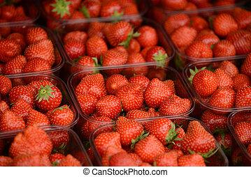 Fresh strawberries at market