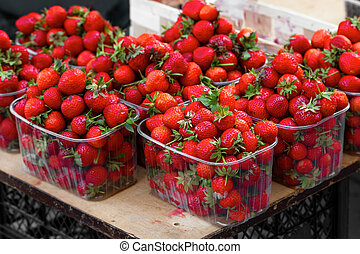 fresh strawberries at the grocery store
