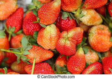 Fresh strawberries at the market