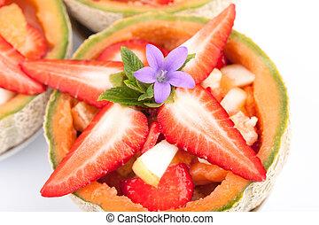Fresh Strawberries In Fruit Salad