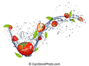 Fresh strawberries in water splash, isolated on white background