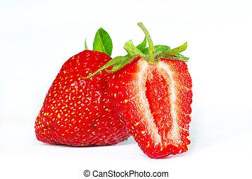 strawberries - Fresh strawberries isolated on white...