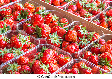 Fresh strawberries put up for sale.